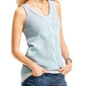 CAbi Sea Spray Light Blue Silk Linen Sweater Tank